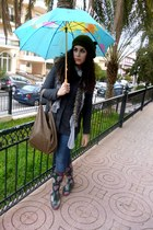 rain boots Fulah Sugah boots - grey Tally Weijl coat - blue BLANCO jeans