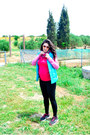 Pink-zara-jacket-black-h-m-leggings-bubble-gum-accessorize-sunglasses
