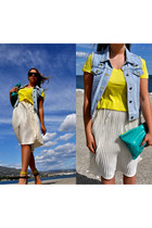 neon H&M t-shirt - leather American Apparel bag - denim jacket Maje vest