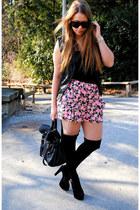 flowers Urban Outfitters skirt - suede Steve Madden heels