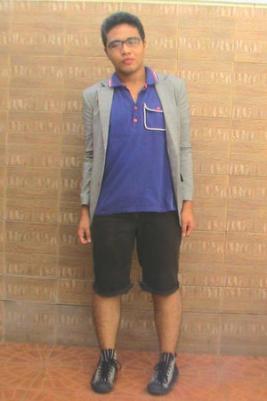 gray random brand blazer - black DIY shorts - purple Penshoppe shirt - glasses