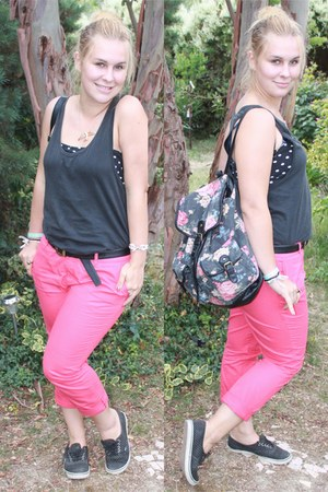 black flowers new look bag - hot pink 3 suisses pants