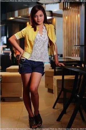 yellow TO BE A PRINCESS jacket - ivory Korean blouse blouse - navy shorts - dark