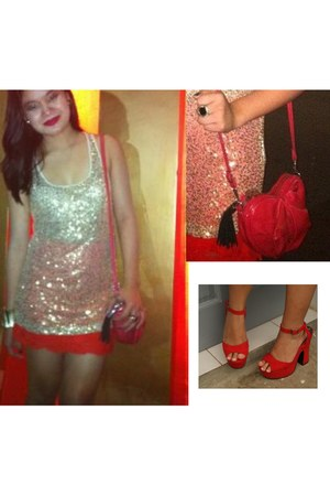 ruby red sling Mango bag - red lace Topshop skirt - gold sequined Forever 21 top