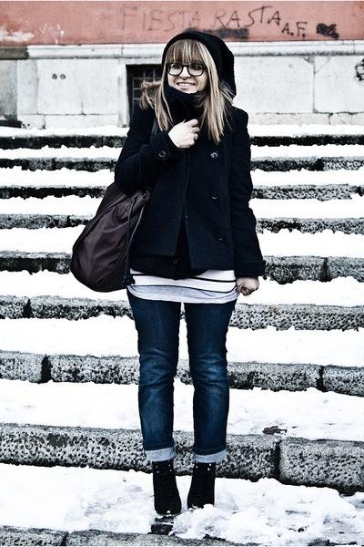 blue brandy jacket - brown Burberry accessories - H&M t-shirt - blue Zara cardig
