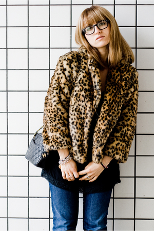 beige pull&bear coat - black thrifted blouse - blue MeltinPot jeans - black Chan
