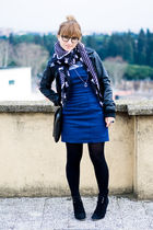 black H&M jacket - blue Zara dress - black Zara scarf - black Zara boots - black