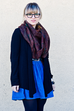 black Calzedonia tights - blue H&amp;M skirt - brown Etro scarf - gray Zara belt - b