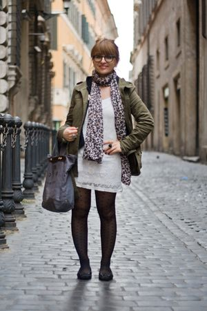 green hm jacket - white pull&bear dress - gray Marc by Marc Jacobs accessories -