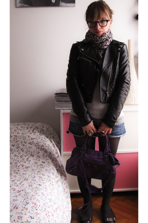 black H&M jacket - blue Zara shorts - purple Balenciaga bag accessories - silver