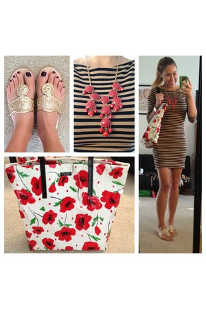 red red flowers kate spade bag - light brown stripes Target dress