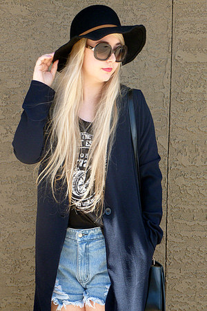 Forever 21 top - navy winners coat - RVCA hat - Some Days Lovin shorts