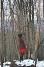Black-velvet-thrifted-vintage-boots-ruby-red-oasap-dress