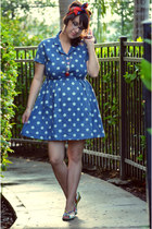 blue polka dot OASAP dress - white vintage shoes
