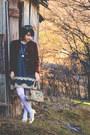 Gold-bow-vintage-shoes-teal-slip-vintage-dress-navy-vintage-thrifted-sweater