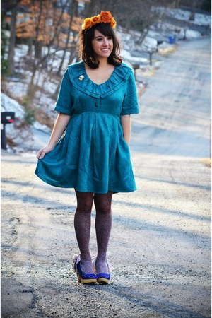 teal babydoll vintage dress - blue Irregular Choice shoes