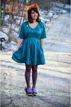 teal babydoll vintage dress - blue Irregular Choice shoes