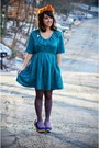 Blue-irregular-choice-shoes-teal-babydoll-vintage-dress