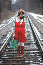 light blue mushroom print Anthropologie blouse - brown Michael Kors boots