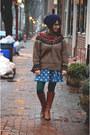 Dark-brown-michael-kors-boots-blue-polka-dot-oasap-dress
