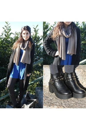black PERSUNMALL shoes - tan PERSUNMALL scarf