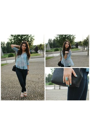 navy Primark jeans - white Stradivarius sandals - sky blue pull&bear blouse