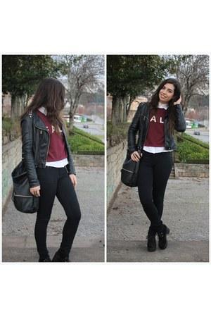 black Primark jeans - maroon PERSUNMALL sweatshirt