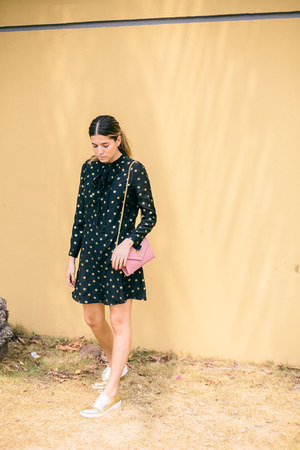 gold lace up oxfords Zara flats - black Saint Laurent dress