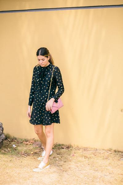 gold lace up oxfords Zara flats - black Saint Laurent dress