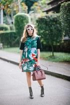 teal shift kate spade dress - black patent Zara boots