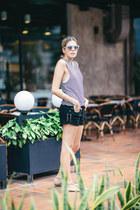 striped Billabong dress - denim Billabong shorts - mirrored acne sunglasses