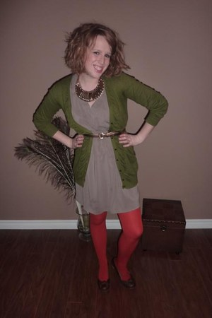 light brown Lovely Girl dress - olive green kensie cardigan - burnt orange We Lo