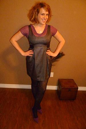 dark gray dress - purple shirt - black stockings - deep purple Guess heels