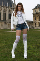 white Pimkie jacket - white t-shirt - blue jennyfer shorts - white socks - white