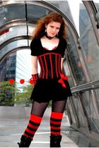 black MORGAN top - black top - black Alchemy Gothic necklace - red socks - red a