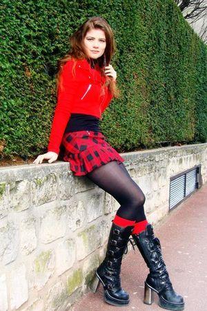 red H&M jacket - jennyfer skirt - red leg avenue socks - black New Rock boots -