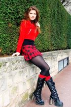 red H&M jacket - jennyfer skirt - red leg avenue socks - black New Rock boots -