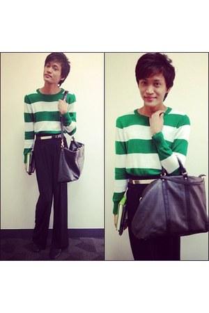 black Mango bag - green Forever 21 sweater - gold Mura Dito belt