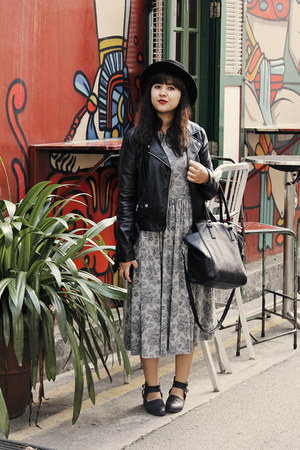 black milanoo boots - heather gray asos dress - black felt boater asos hat