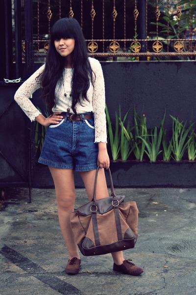 brown Flashy purse - brown bought in Bandung shoes - white ShopDixi dress