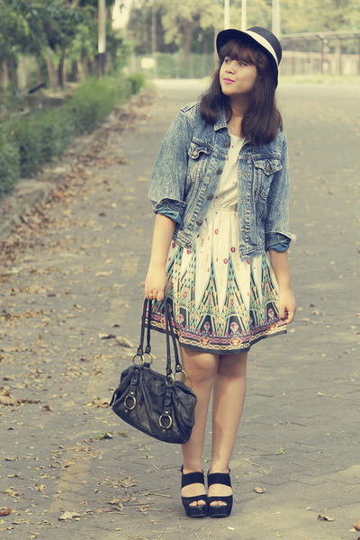 blue vintage jacket - beige rosewe dress - black bowy straw Local store hat