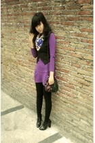 purple Topshop dress - black Forever21 shoes - black tights Local store tights