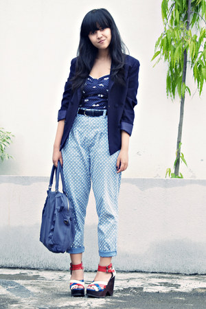 blue Topshop wedges - navy padded Thrift Store blazer - violet Chrysalis bag