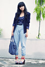 Navy-padded-thrift-store-blazer-violet-chrysalis-bag-light-blue-polkadot-den