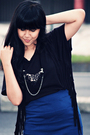 Black-bloop-relaxing-top-blue-solemio-skirt-black-vintage-wilsons-jacket-b