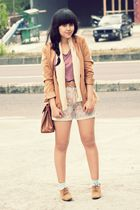 brown suede polkadot vintage blazer - brown bought in Bandung shoes