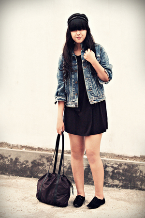 black simple loose bloop dress - black simple lace-ups random shoes