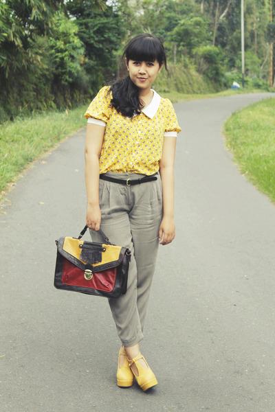 yellow night owl tideshe blouse - dark brown Primark bag
