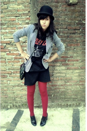Motley Crue t-shirt - Local store blazer - handmade skirt - Saks Fifth avenue ha