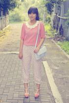 pink Max C blouse - periwinkle asos bag - coral milanoo heels